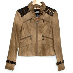 BKE Outerwear Womens Jacket Sequin Brown Small D1